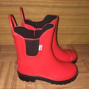 Kids Toms size 10 red rain boots